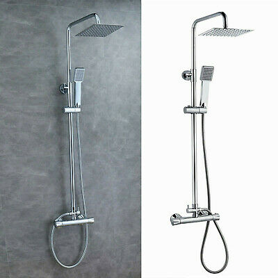 £44.59 • Buy Thermostatic Exposed Shower Mixer Bathroom Twin Head Large Square Bar Set Chrome