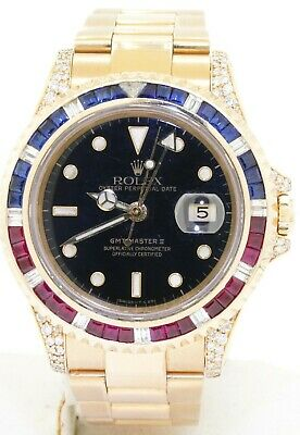 $ CDN32581.96 • Buy Rolex GMT Master II 16718 Heavy 18k Gold Diamond Ruby Sapphire Bezel Mens Watch