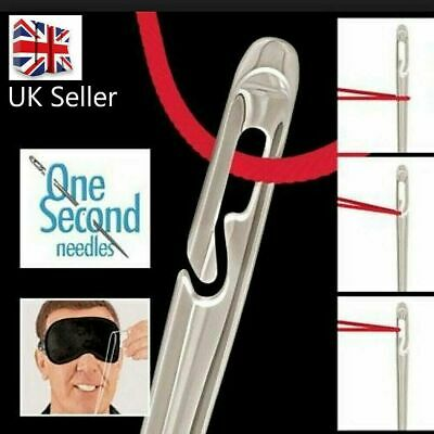 12 SELF THREADING SEWING NEEDLES - ASSORTED SIZES - EASY THREAD - UK Seller • 2.30£