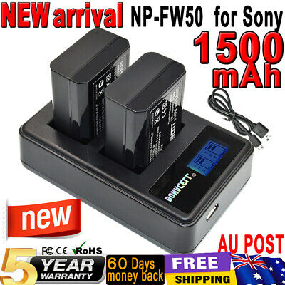 AU28.99 • Buy 2x NP-FW50 Battery + Dual Charger For Sony Alpha A7 A5000 A6000 A7R NEX-3 NEX-7