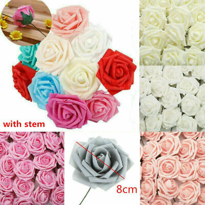 50pcs Artificial Flowers Foam Rose Fake Flower With Stem Wedding Party Bouquet • 8.99£
