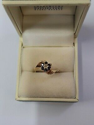9ct Yellow Gold Sapphires And Diamond Ring Vintage  • 90£