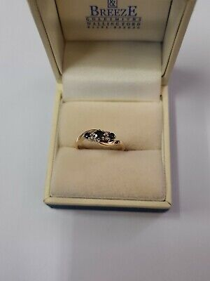 9ct Yellow Gold Sapphires And Diamonds Ring  • 90£