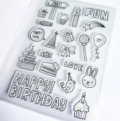 Happy Birthday Party Craft Paper Craft Card Making Clear Rubber Stamps • 6.49£