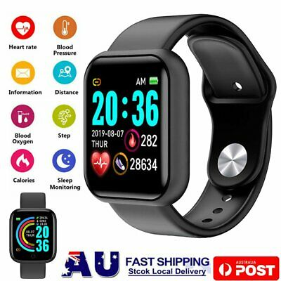 AU19.89 • Buy Y68 Smart Watch Bluetooth Heart Rate Blood Pressure Waterproof For IOS Android