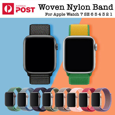 AU7.49 • Buy Fine Woven Nylon Loop Strap IWatch Band Apple Watch Sports Series SE 6 5 4 3 2 1