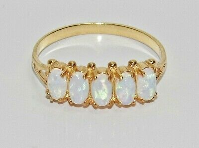 9ct Yellow Gold On Silver Fiery Opal 5 Stone Eternity Ring ~ Size S • 35£