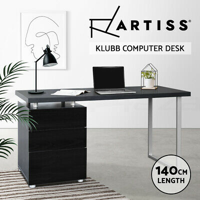 AU179.90 • Buy Artiss Office Computer Desk Study Table Home Metal Student Drawer Cabinet Black