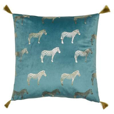 Teal Gold Zebra Pillow Velvet Cushion Tassels Large Scatter Cushion • 15.99£