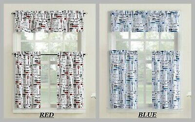 $23.95 • Buy Bistro Kitchen Curtain Tier And Valance Set Rust Red Or Blue Pots Utensils Etc.