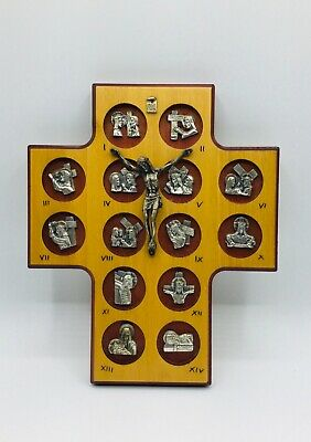 Vintage 14 Stations Of The Cross Silver Metal With Wood Crucifix Hanging Cross • 25.67£