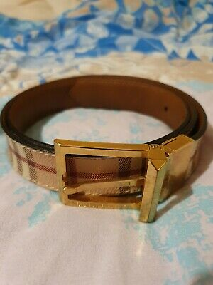 Burberry Mens Belt Knight Horse Check Print Gold Buckle Designer • 109.99£