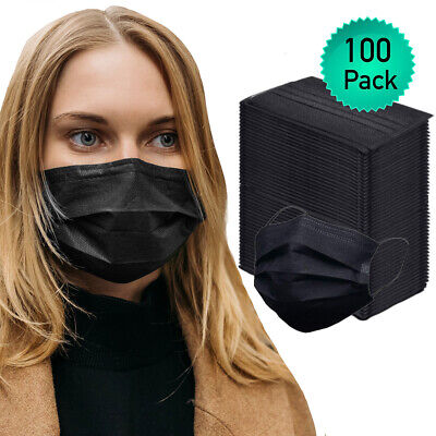 $7.99 • Buy 100pk Disposable Face Mask Adult Covers Mouth & Nose 3 Ply Ear Loop USA Seller