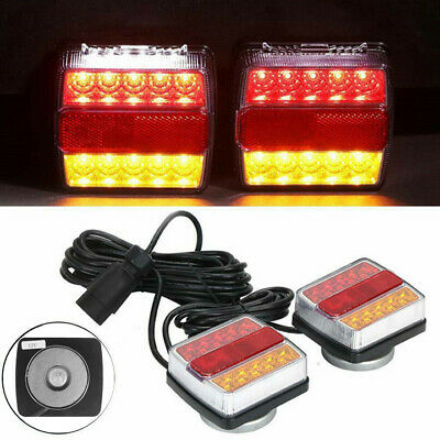 12V Magnetic LED Trailer Towing Lights Rear Tail Board Lamps Stop Car 7.5M Cable • 22.99£