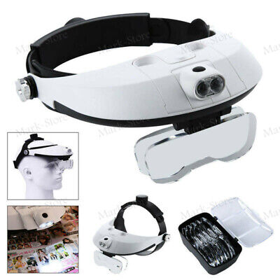 Headband Jeweler Magnifier Head-Mounted Reading Magnifying Glass With LED Light • 14.99£