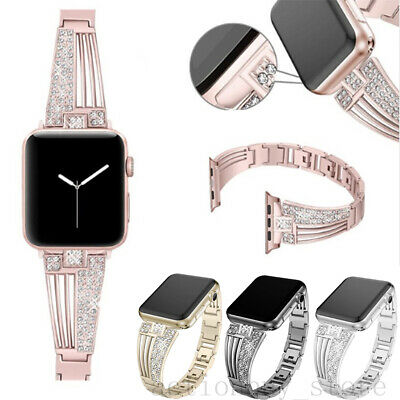 AU21.99 • Buy Bling Diamond Metal Watch Band Strap For IWatch Apple Watch Series 5 4 3 2 6 SE
