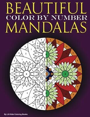 Adult Colouring Book Mandala Beautiful Color By Number Stress Relief Paperback • 5.45£
