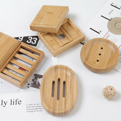 Wooden Soap Dishes Bamboo Soap Tray Holder Soap Rack Plate Box Container • 3.99£