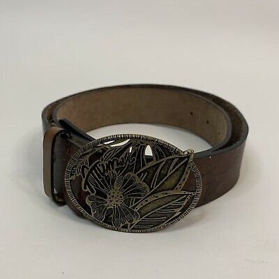 ANIMAL • Brown Leather Embossed Floral Big Buckle Belt • Size S M  • 12£