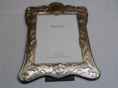 AU38.69 • Buy Pearl Silver 8x10  Photo Frame Silverplated Magnolia Flower Floral Hand Polished