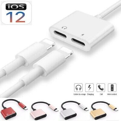 £3.85 • Buy For IPhone X 7 8 XS 11 Plus Dual 2in1 Earphone Audio & Charger Adapter Splitter
