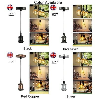 £8.19 • Buy E27 Vintage Lamp Holder Ceiling DIY Light Base With 1.2M Braided Flex Cable