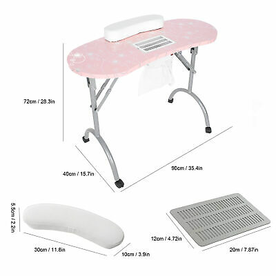 £292.65 • Buy Portable Manicure Table Nail Art Pedicure Table Desk Built-in Dust Collector TI