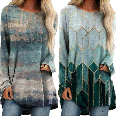 Womens Long Sleeve T-Shirt Ladies Casual Loose Blouse Tunic Tops Tee Plus Size • 14.55£