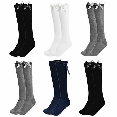Girls Knee High Bow Socks Lycra Long School Black Grey Navy White 1/2/3 Pairs • 3.90£