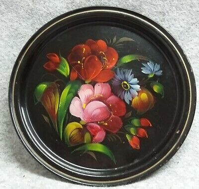 Hand Made Painted Russian Zhostovo Lacquer Tea Snack Tray Tole Ware Vintage • 12£