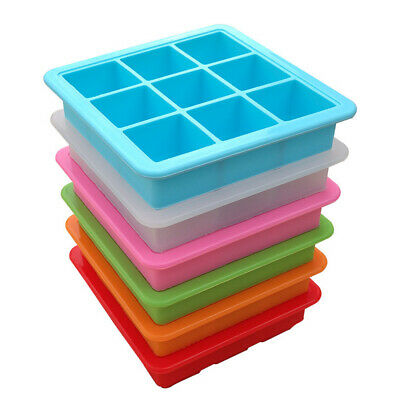 Removable Lid Silicone Trays Maker Mold 9 Grid Gifts Ice Block Trays Party Tool • 9.25£