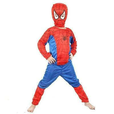 Kids Boys Super Hero Spiderman Cosplay Costume Fancy Dress Party Outfits Set UK • 8.99£