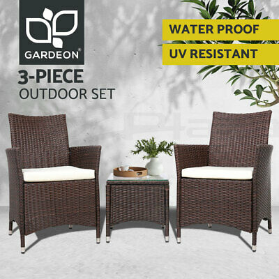 AU199.95 • Buy Gardeon Patio Furniture Outdoor Setting Bistro Set Chair Table 3 Piece Rattan