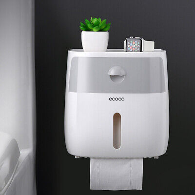 Waterproof Wall Mounted Toilet Paper Holder Storage Box W Drawer Roll Tissue Box • 8.04£