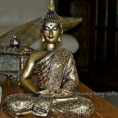 Large THAI BUDDHA Meditating Bronze Gold Ornament Statue Figurine Home 27cm • 25.95£