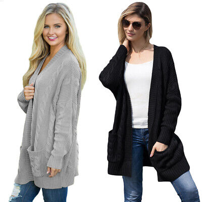 £9.79 • Buy Ladies Women's Long Knitted Cardigan Chunky Open Front Sweater Coat Winter Warm