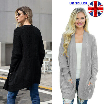 £9.99 • Buy Ladies Womens Cardigan Long Sleeve Warm Knitted Knit Size8-18 Open Front Sweater