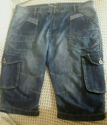 Airwalk Men's Blue Denim Cargo Shorts Casual Holiday Xxl Hardly Worn 41  Waist • 15£