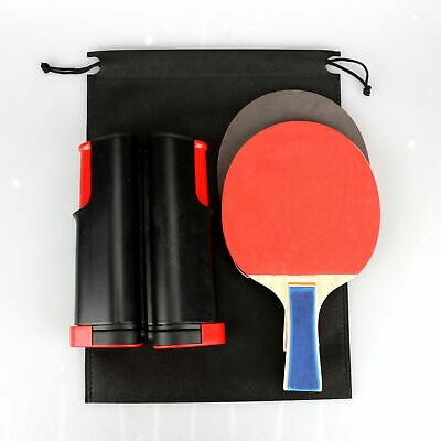 Table Tennis Kit Ping Pong Set Portable Retractable Net 2 Bats UK • 7.58£
