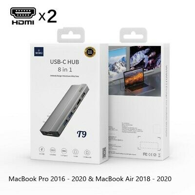 AU119.99 • Buy 8-in-1 Type C Hub For MacBook Pro & Air 2xHDMI+3 USB Dual Monitor Display 2020