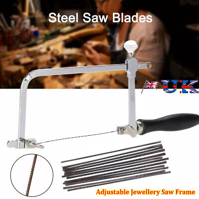 Adjustable Jewellers Piercing Saw Frame Jewellery Making Tool Or 12 X Saw Blades • 10.49£
