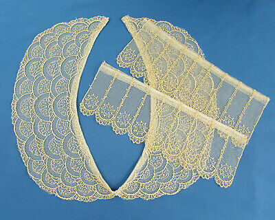 Vintage Ivory Net Lace Collar And Cuffs  - Scalloped Edges • 8.94£