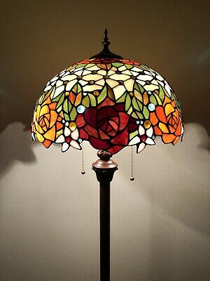 "Enjoy Brand Tiffany Floor Lamp Rose Flower Stained Glass  Antique Vintage H64"" • 144.71£"