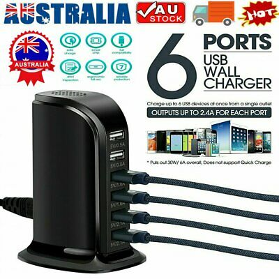 AU18.30 • Buy 6 Port Charging Station USB Desktop Charger Rapid Tower Power Adapter Wall HUB