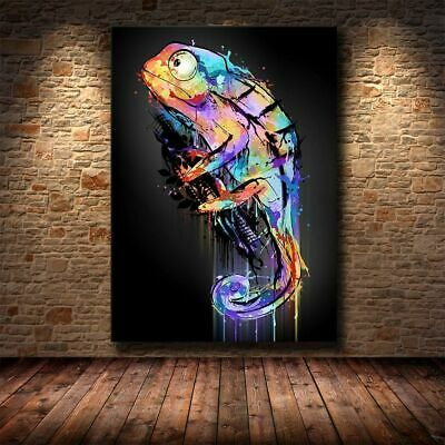 AU70.09 • Buy Wall Art Animal Canvas Painting Abstract Chameleon Posters Artwork Home Décor