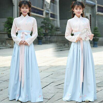 $ CDN29.18 • Buy Hanfu Chinese Traditional Cosplay Costume Han Dynasty Student Stage Show Dress
