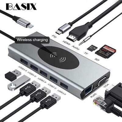 AU84.98 • Buy USB C HUB 13 IN 1 Type C Adapter USB C To HDMI 3.5mm Jack Audio SD TF HDMI VGA R