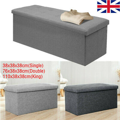 Grey Large Fine Linen Folding Storage Ottoman Pouffe Seat Foot Stool Storage Uk • 19.59£