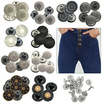8 X 17mm Hammer On Jeans Buttons Metal Denim Replacement Jacket Trousers • 1.99£