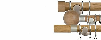 Pair Of John Lewis Square Oak Wooden Finish To Fit 30mm Curtain Pole Finials • 22.99£